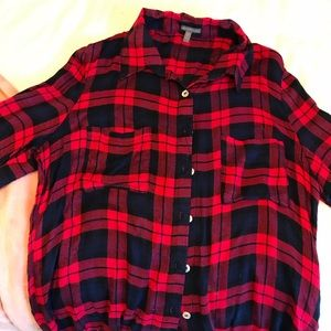 Red and Navy button up shirt